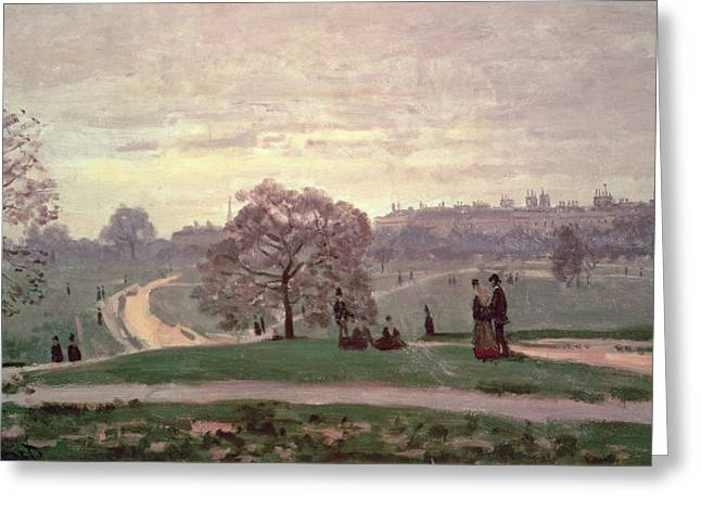 Couple Greeting Cards - Hyde Park Greeting Card by Claude Monet