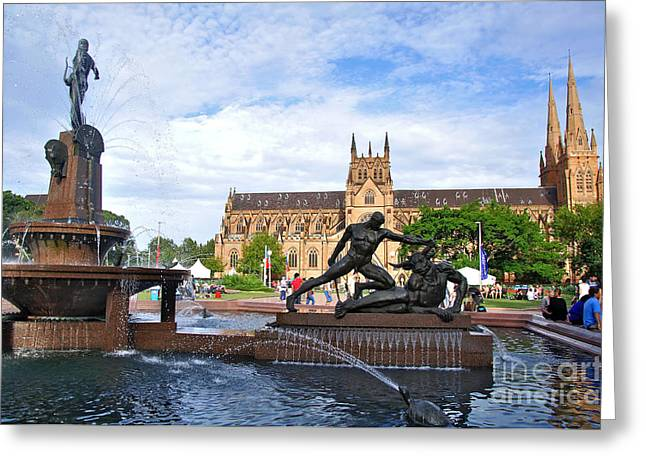 Hyde Park Fountain And St. Mary's Cathedral Greeting Card by Kaye Menner