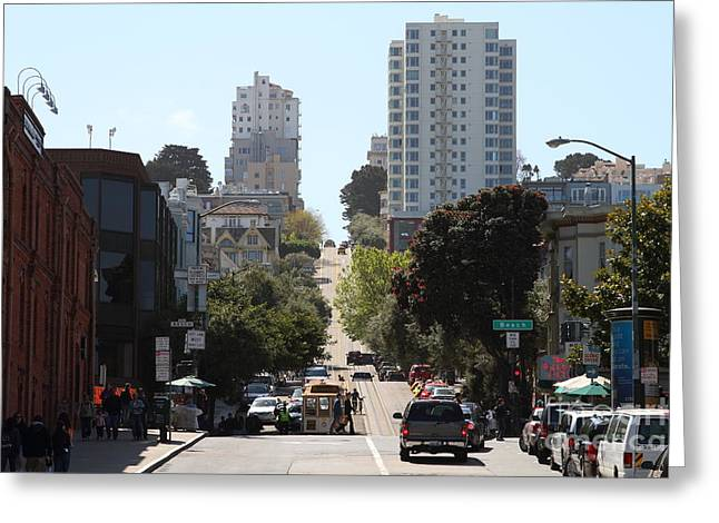 Beach Street Greeting Cards - Hyde Street at Fishermans Wharf . San Francisco California . 7D14176 Greeting Card by Wingsdomain Art and Photography