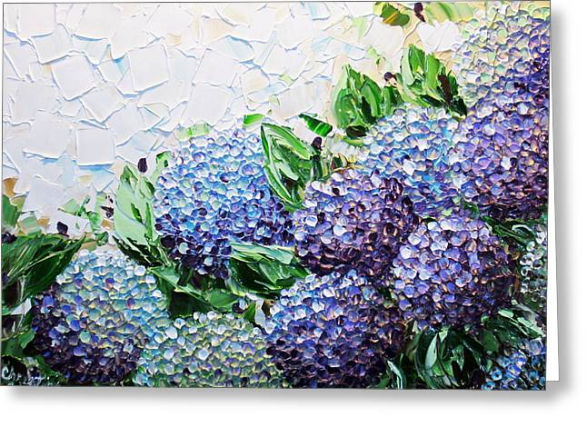 Artist Christine Krainock Greeting Cards - Hydrangea at Daybreak Greeting Card by Christine Krainock