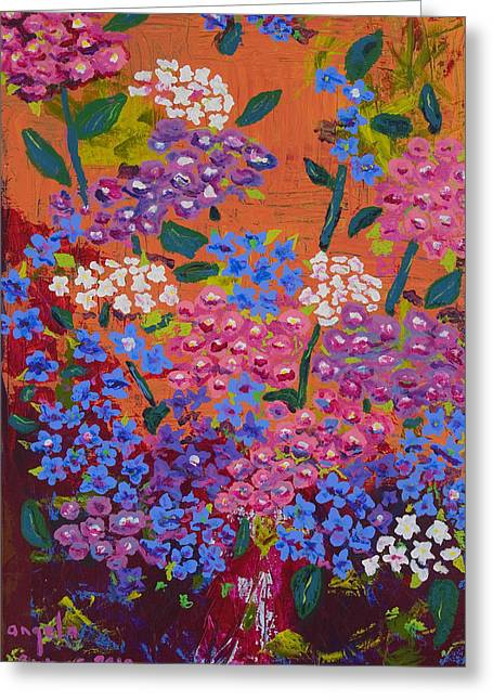 Salmon Paintings Greeting Cards - Hydrangea Collage Greeting Card by Angela Annas