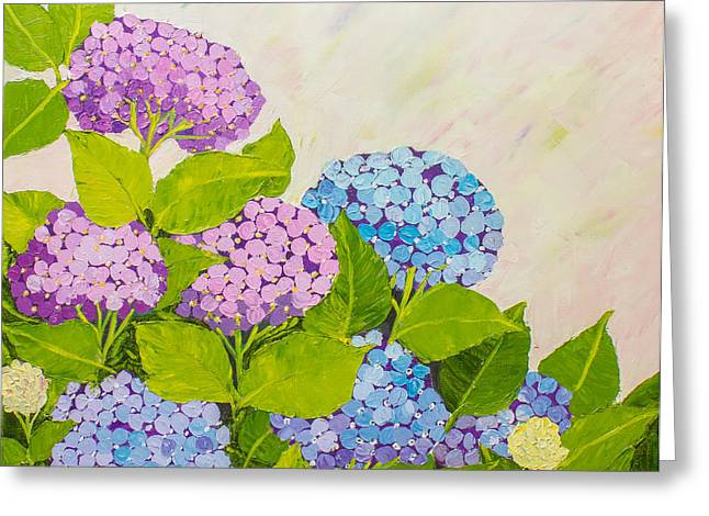 Pallet Knife Greeting Cards - Hydrangeas 1 Greeting Card by Isabella Talbot-Imber