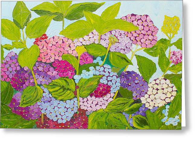 Pallet Knife Greeting Cards - Hydrangeas 2 Greeting Card by Isabella Talbot-Imber
