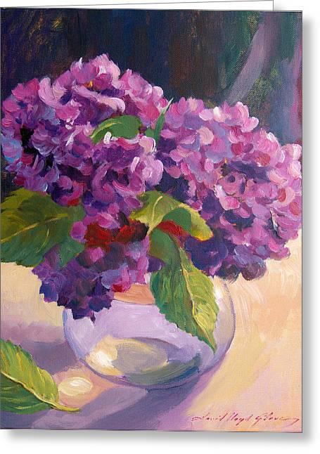 Glass Bowls Greeting Cards - Hydrangeas Glass Bowl Greeting Card by David Lloyd Glover