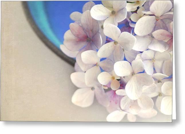 Hydrangeas in blue bowl Greeting Card by Lyn Randle