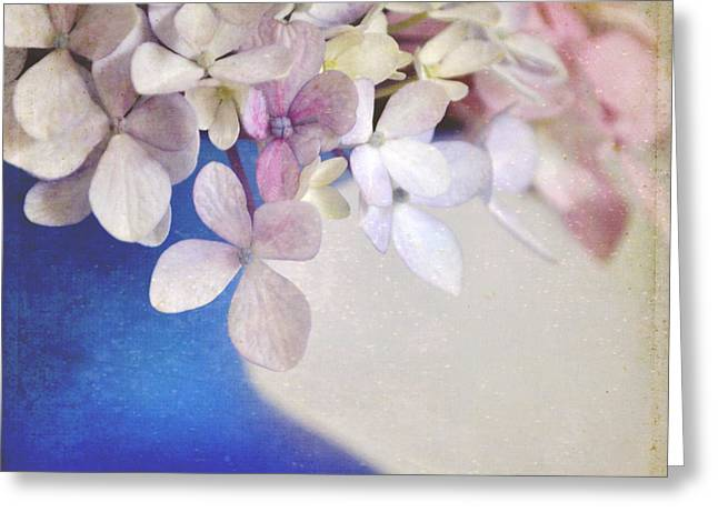 Hydrangeas In Deep Blue Vase Greeting Card by Lyn Randle