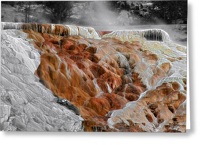Spectacular Greeting Cards - Hymen Terrace Mammoth Hot Springs Yellowstone Park WY Greeting Card by Christine Till