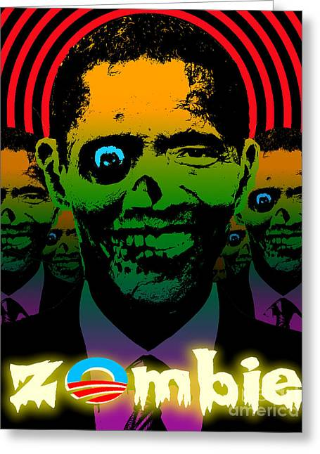 Robert Phelps Robert Phelps Art Greeting Cards - Hypno Obama Zombie Horde Greeting Card by Robert Phelps
