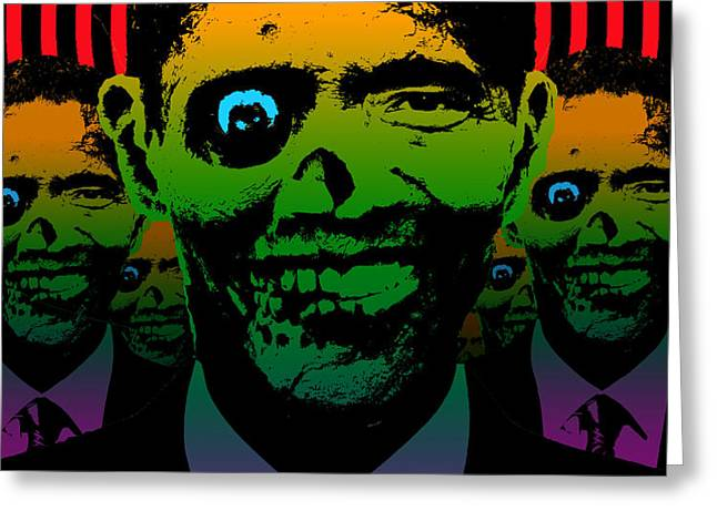 Hypno Obama Zombie Horde Greeting Card by Robert Phelps
