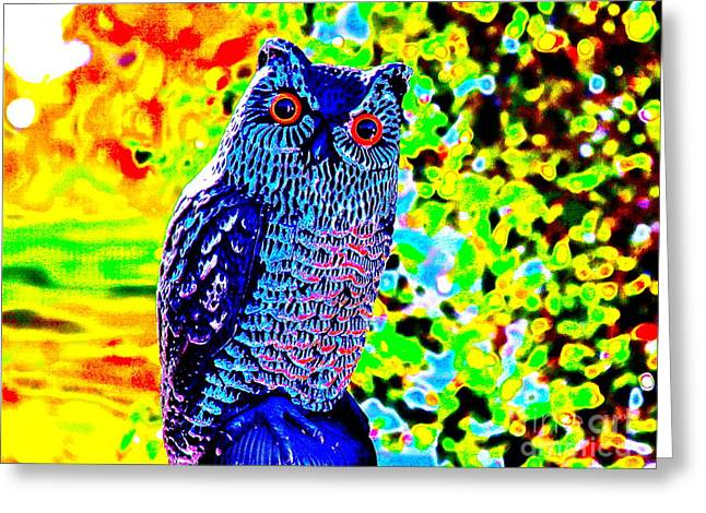 Psychedelic Owl Greeting Cards - Hypno Owl Greeting Card by Xn Tyler