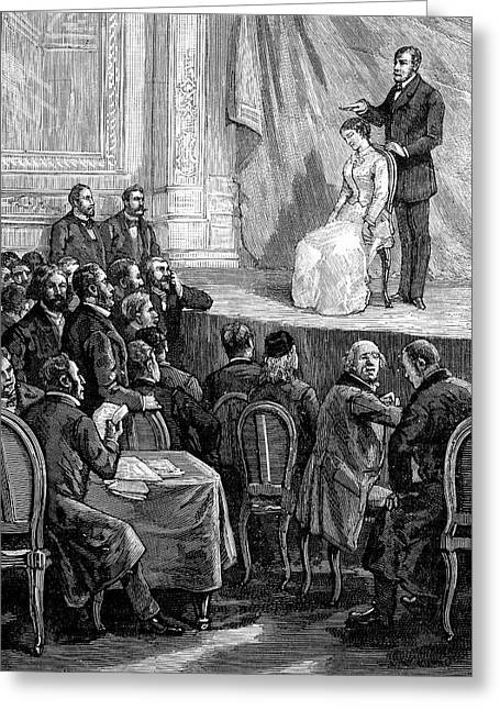 Psychiatric Greeting Cards - Hypnosis Demonstration, 19th Century Greeting Card by