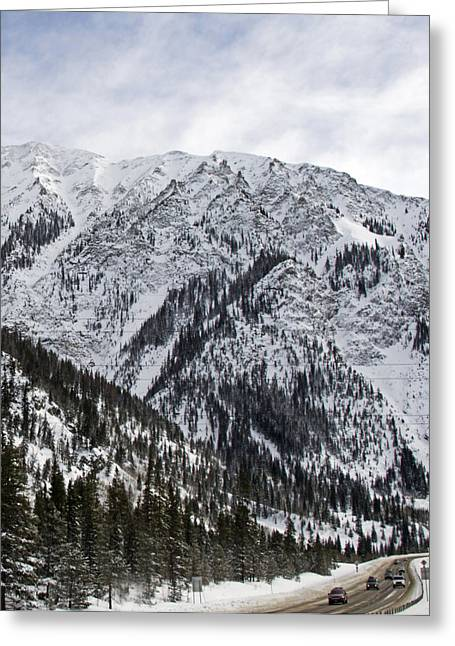 Mountain Road Greeting Cards - I-70 Beneath the Rocky Mountains and Continental Divide Colorado Greeting Card by Brendan Reals