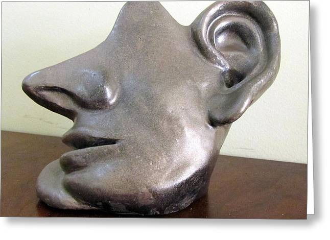 Silver Sculptures Greeting Cards - I am all ears head face with ears only large nose no eyes huge ears Greeting Card by Rachel Hershkovitz