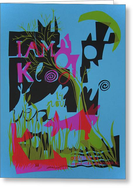 Live Music Mixed Media Greeting Cards - I Am Kloot gigposter Greeting Card by Sidsel Genee