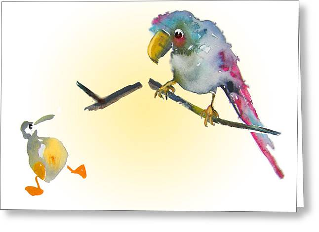Parrot Art Greeting Cards - I am Leaving You Greeting Card by Miki De Goodaboom