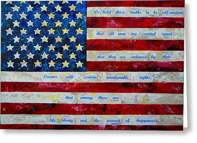 Declaration Of Independence Paintings Greeting Cards - I believe Greeting Card by Patti Schermerhorn