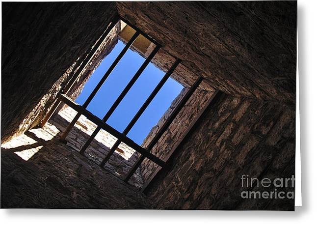 Barred Window Greeting Cards - I can see the Light Greeting Card by Kaye Menner
