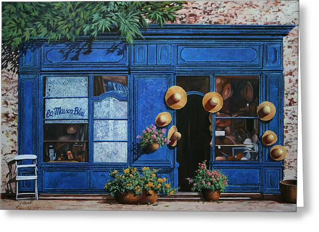 Shops Greeting Cards - I Cappelli Gialli Greeting Card by Guido Borelli
