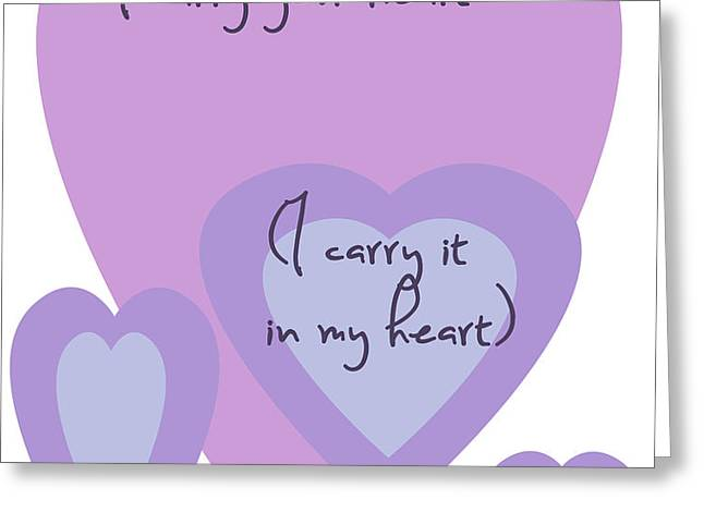 i carry your heart i carry it in my heart - lilac purples Greeting Card by Nomad Art And  Design