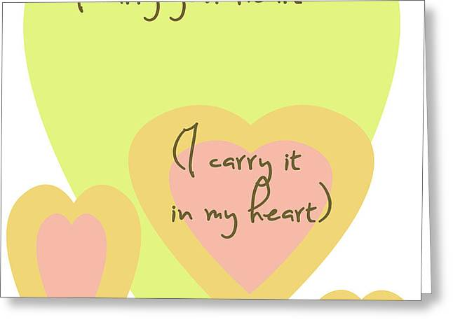 i carry your heart i carry it in my heart - yellow and peach Greeting Card by Nomad Art And  Design