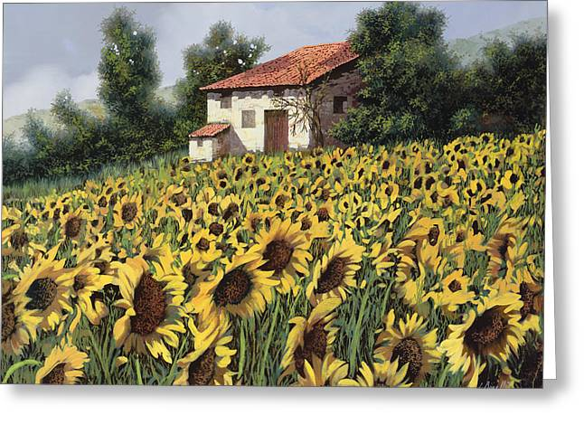 Tuscany Greeting Cards - I Girasoli Nel Campo Greeting Card by Guido Borelli