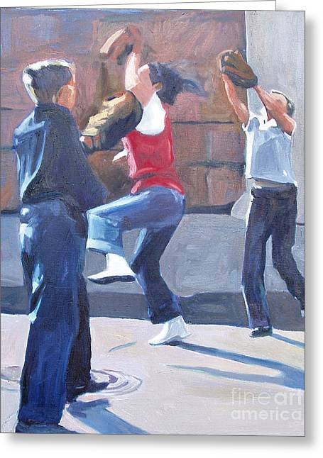 Baseball Paintings Greeting Cards - I Got It Greeting Card by Deb Putnam