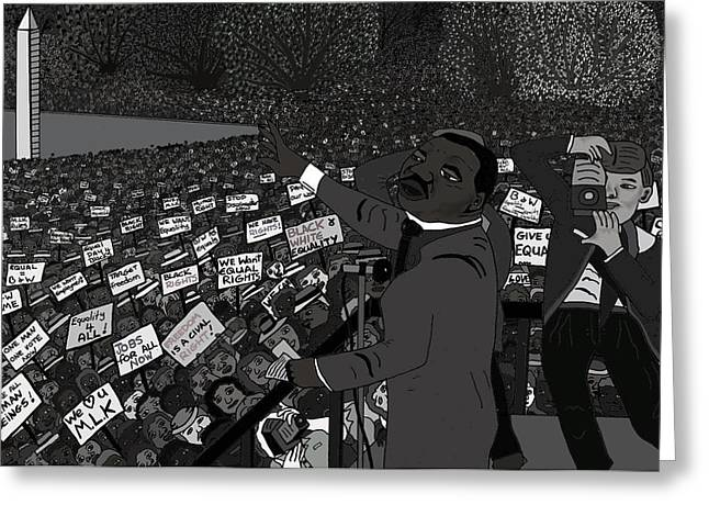Mass Crowds Mixed Media Greeting Cards - I have a dream black and white Greeting Card by Karen Elzinga