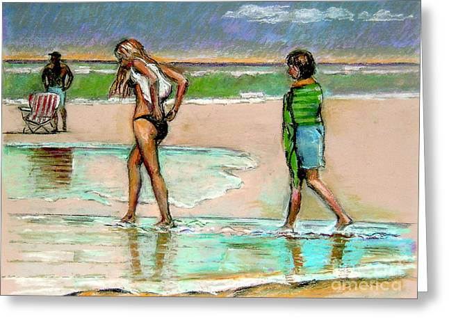 Ocean Scenes Pastels Greeting Cards - I Hope The Sun Comes Out Greeting Card by Stan Esson