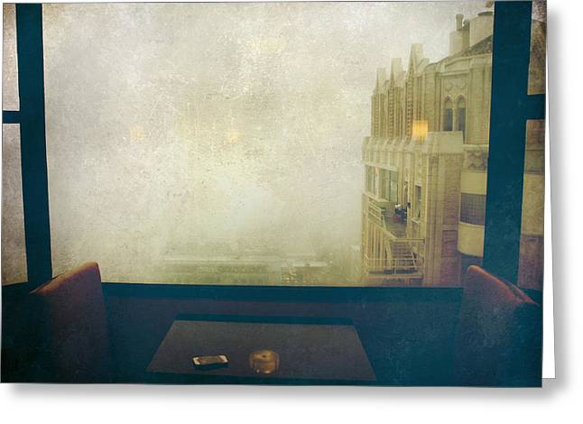 Window Seat Greeting Cards - I Just Sat There Staring Out At The Fog Greeting Card by Laurie Search