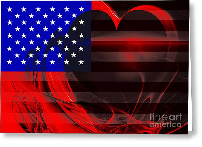 July 4th Greeting Cards - I Love America Greeting Card by Wingsdomain Art and Photography