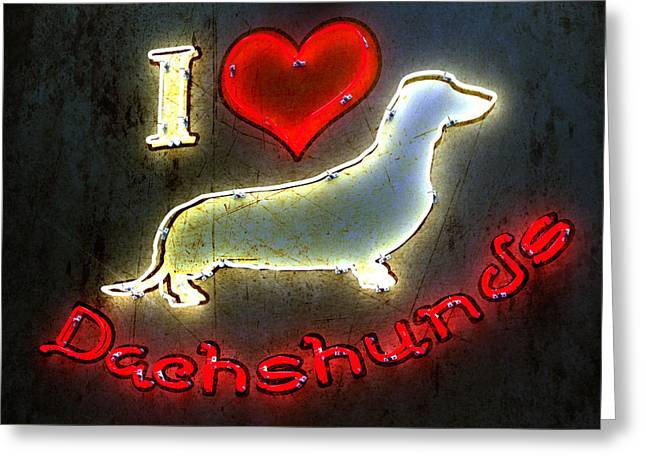 Doggies Greeting Cards - I Love Dachshunds Greeting Card by Anthony Ross