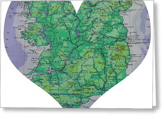 I Love Ireland Heart Map Greeting Card by Georgia Fowler