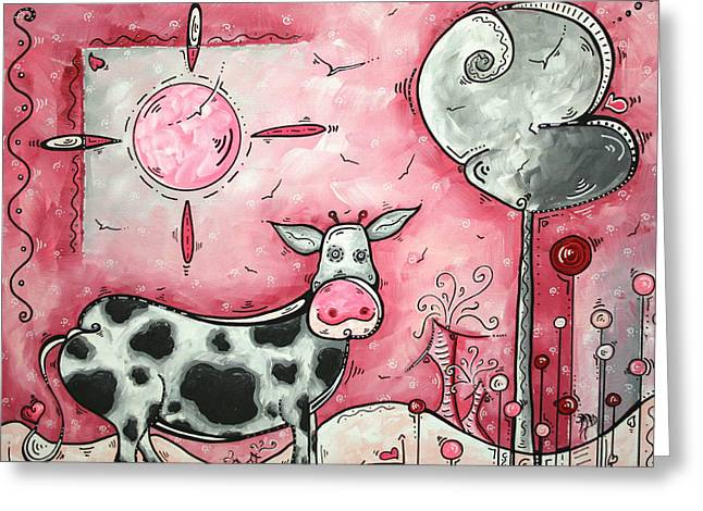 Graffiti Greeting Cards - I LOVE MOO Original MADART Painting Greeting Card by Megan Duncanson