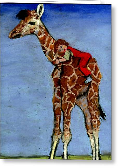 Storybook Pastels Greeting Cards - I Love My Very Own Giraffe Greeting Card by Cheryl Whitehall