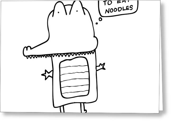 Noodles Greeting Cards - I Love Noodles Comic Greeting Card by Karl Addison