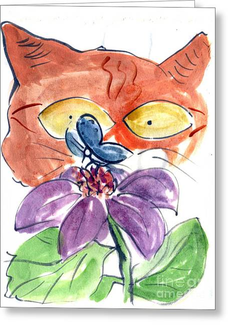 Drawings Of Cats Greeting Cards - I Spy a Butterfly Greeting Card by Ellen Miffitt