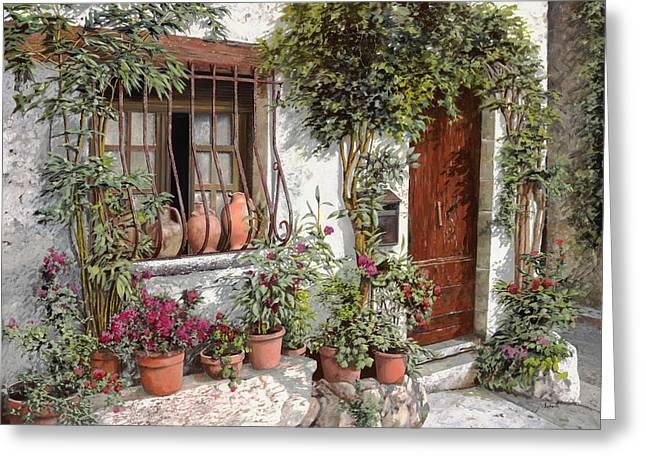 Street Landscape Greeting Cards - I Vasi Dietro La Grata Greeting Card by Guido Borelli