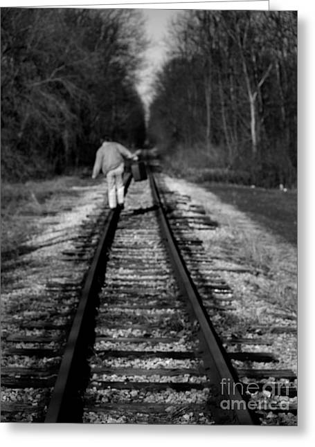 Wingtips Greeting Cards - I Walk The Line Greeting Card by Terry Doyle