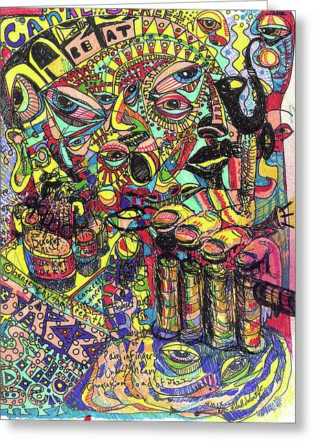Neo-expressionism Greeting Cards - I Want To Be In That Number Greeting Card by Robert Wolverton Jr
