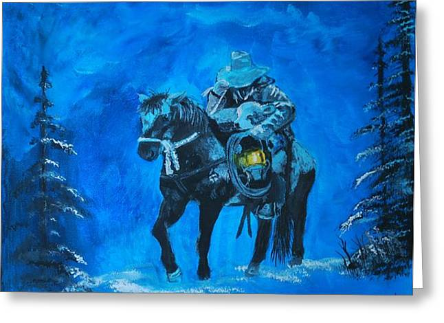 Snowy Night Greeting Cards - I Will Carry You Greeting Card by Leslie Allen