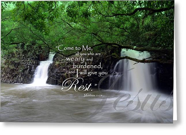 Gospel Of Matthew Greeting Cards - I Will Give You Rest Greeting Card by Jeanne Geidel-Neal