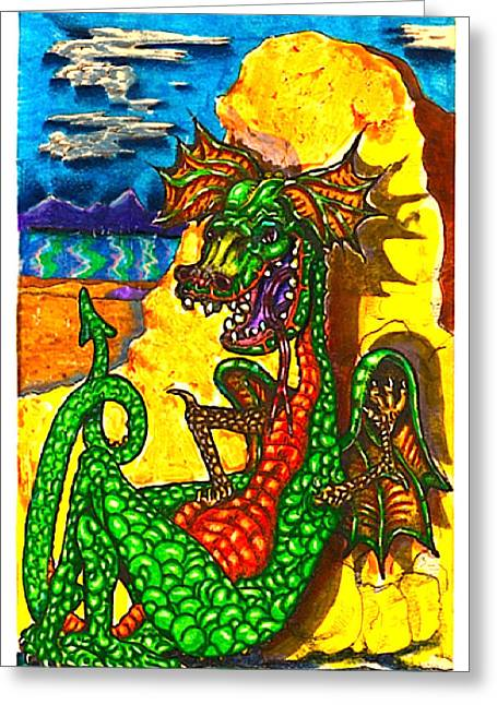 Hungry Fly Greeting Cards - Iammyaza The Dragon Greeting Card by Al Goldfarb