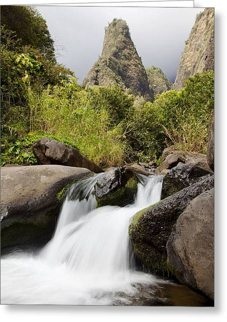 Jenna Greeting Cards - Iao River and Waterfall Greeting Card by Jenna Szerlag