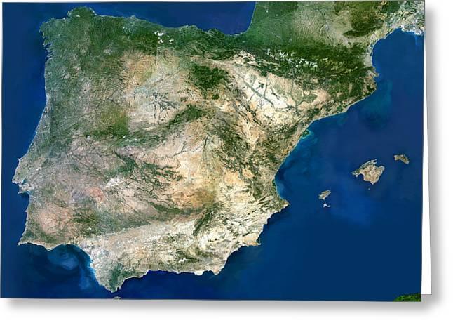Iberian Peninsula, Satellite Image Greeting Card by Planetobserver