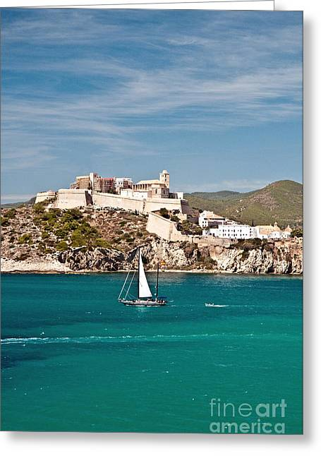Ocean Panorama Greeting Cards - Ibiza Castle Greeting Card by Jim Chamberlain