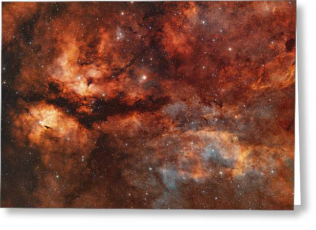 Interstellar Medium Greeting Cards - Ic 1318 And The Butterfly Nebula Greeting Card by Rolf Geissinger