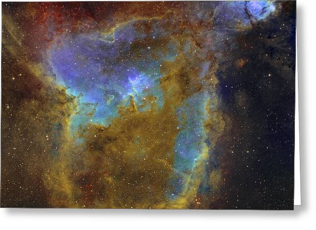 Colorful Cloud Formations Greeting Cards - Ic 1805, The Heart Nebula Greeting Card by Rolf Geissinger