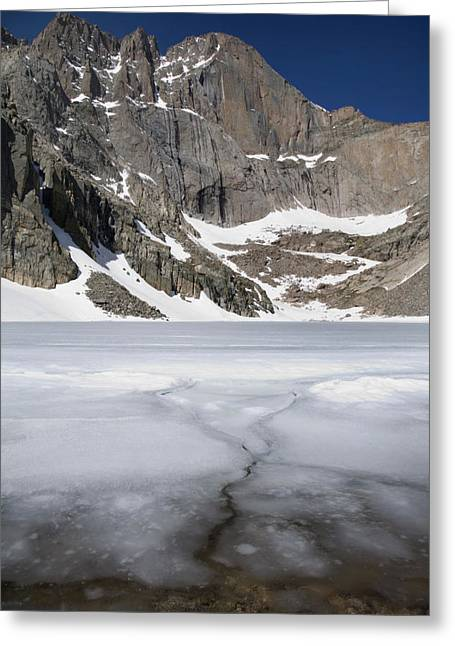 Chasm Lake Greeting Cards - Ice And Snow Still On Chasm Lake Greeting Card by Scott S. Warren