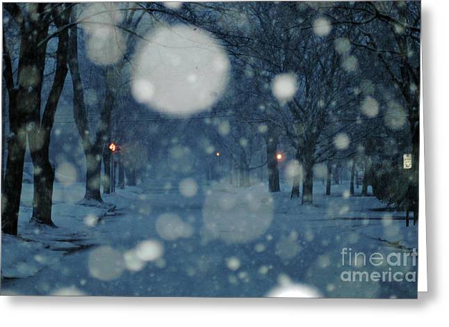 Wintry Digital Art Greeting Cards - Ice Blue Snowy Landscape Greeting Card by Anahi DeCanio