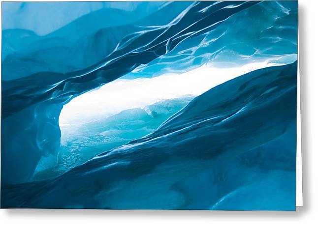 Ice Cave On The Glacier Greeting Card by John White